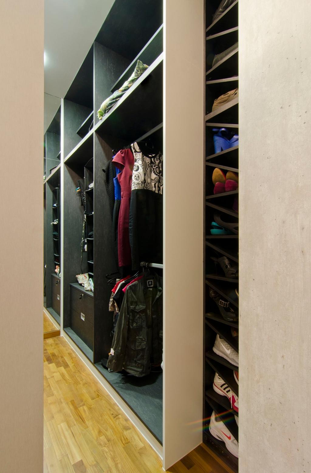 Transitional, Condo, Bedroom, The Wharf Residence, Interior Designer, Ideal Design Interior, Walk In Wardobe, Shoe Rack, Storage, Parquet, Black, Linear