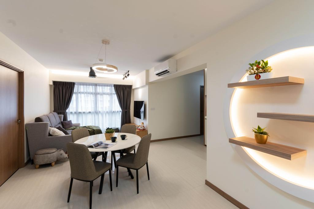 Modern, HDB, Dining Room, Northshore Drive, Interior Designer, Yang's Inspiration Design, Contemporary