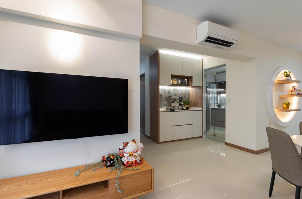 Modern, HDB, Living Room, Northshore Drive, Interior Designer, Yang's Inspiration Design, Contemporary