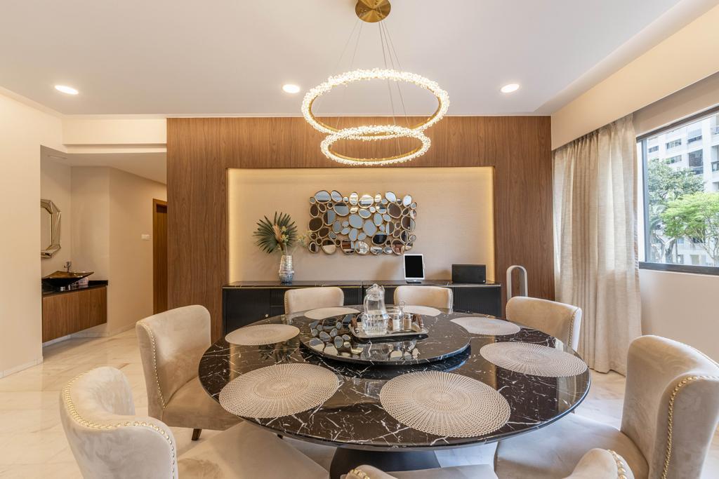Transitional, Condo, Dining Room, Windy Heights, Interior Designer, Livspace