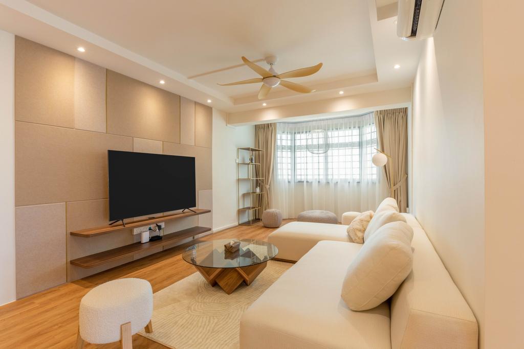 Contemporary, HDB, Living Room, Hougang Avenue 3, Interior Designer, Livspace