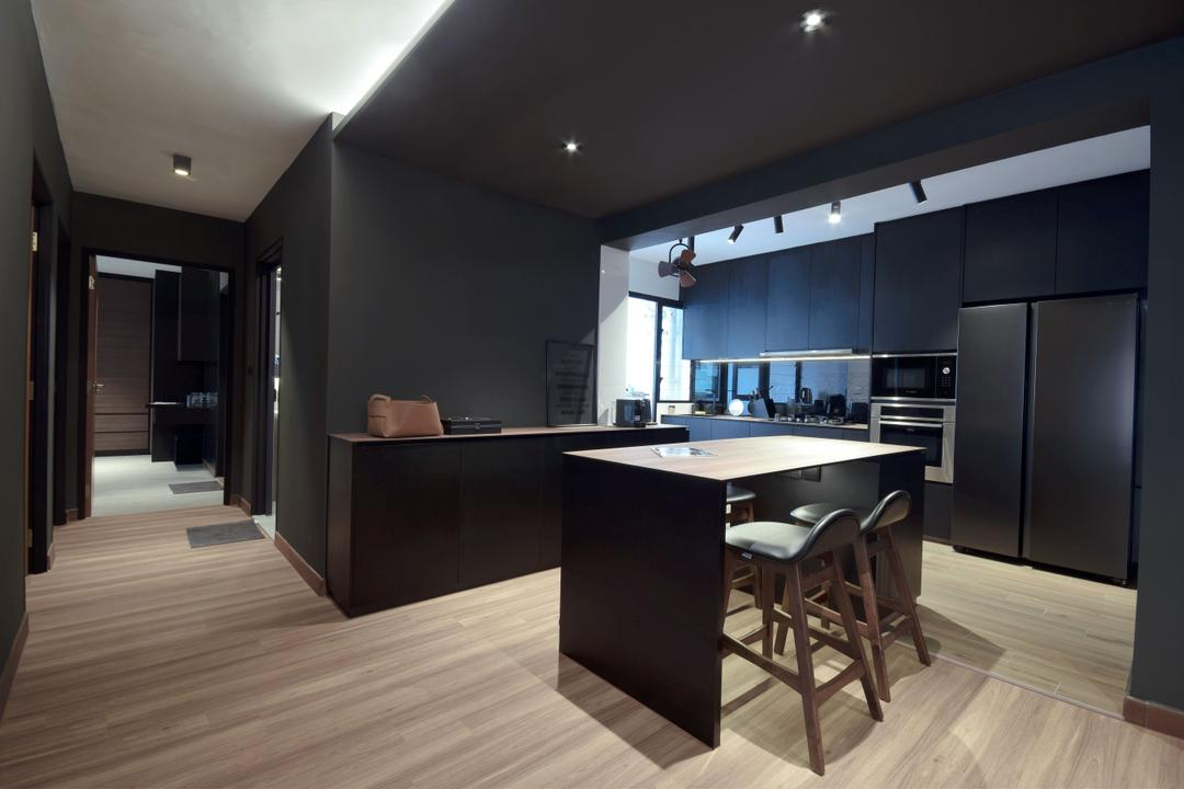 Keat Hong Lane, Juz Interior, Contemporary, Dining Room, HDB, Kitchen Island, Open Concept, Open Kitchen, Black, Dark