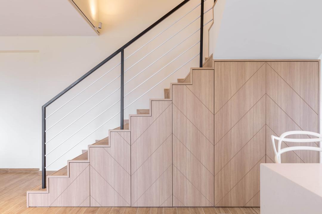 Bishan Street 23, The Design Practice, Modern, Scandinavian, Living Room, HDB, Staircase, Stairs