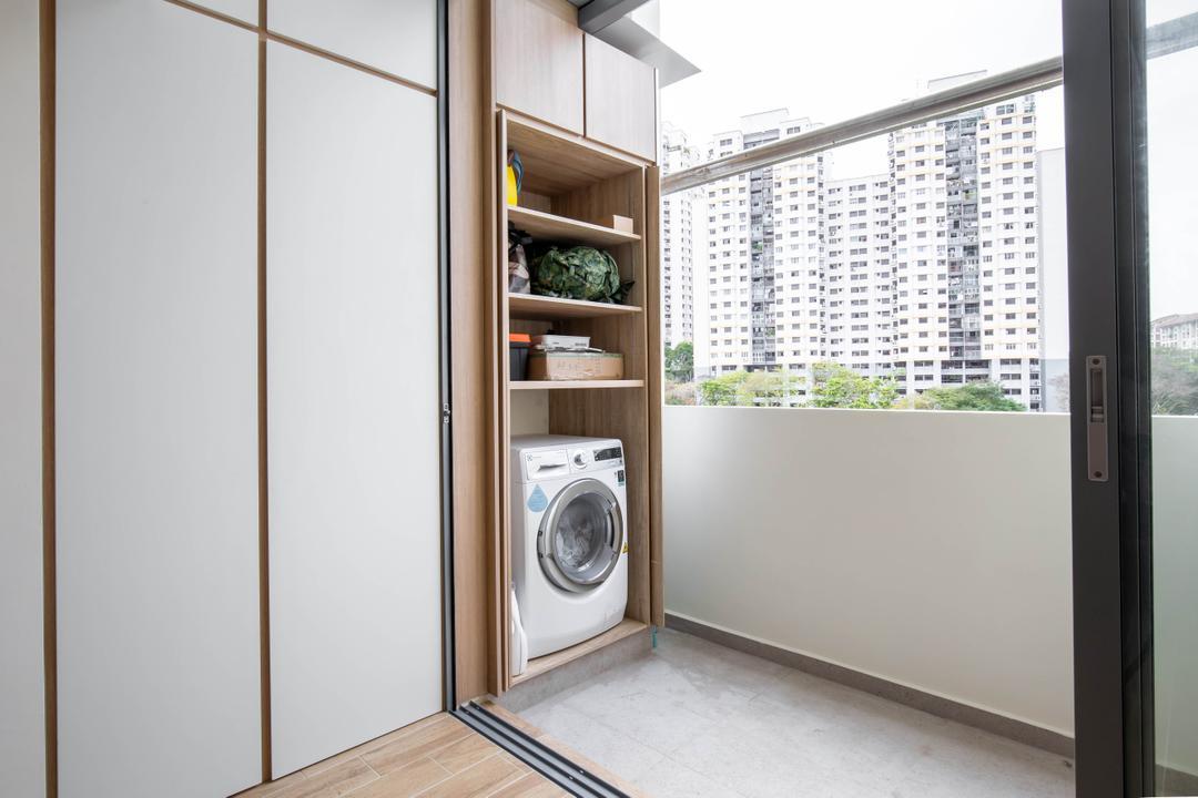Bishan Street 23, The Design Practice, Modern, Scandinavian, Kitchen, HDB, Hidden Storage, Pocket Doors, Concealed Storage, Yard, Service Yard