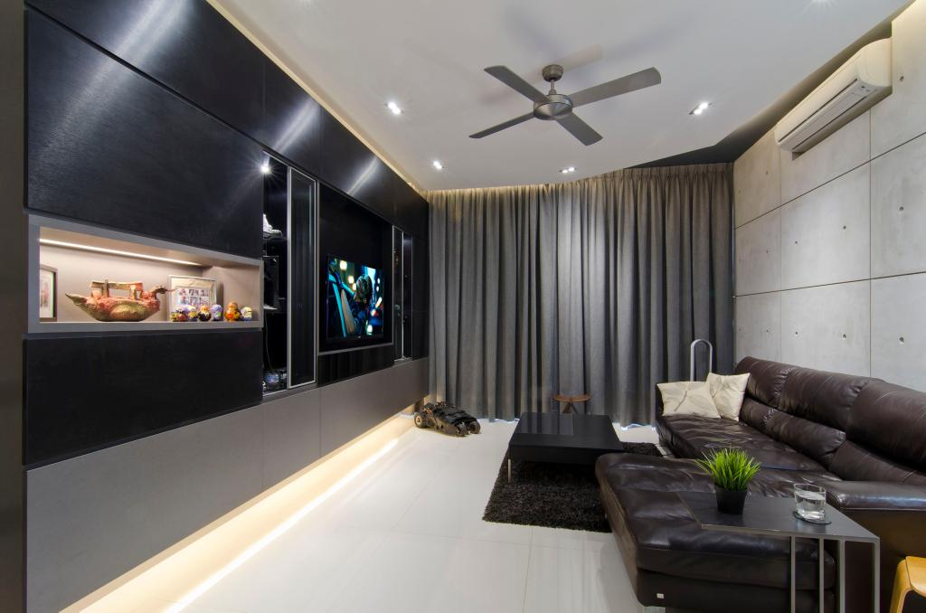 Transitional, Condo, Living Room, The Wharf Residence, Interior Designer, Ideal Design Interior, Black, Monochrome, Ceiling Fan, Curtains, White, Concrete Wall, Sofa, Rug, Coffee Table, Table, Display Shelf, Shelf, Shelves, Indented Shelf, Recessed Shelf, Indented Shelves, Recessed Shelves, Concealed Lighting