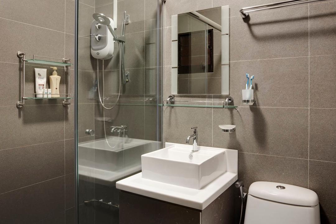Yishun Avenue 4, Ideal Design Interior, Contemporary, Bathroom, HDB, Tile, Tiles, Mirror, Vessel Sink, Bathroom Counter, Gray, Grayscale, Glass Cubicle