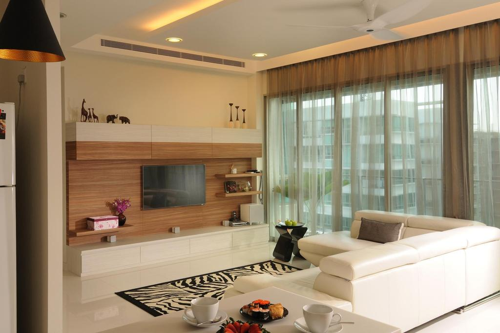 Transitional, Condo, Living Room, Livia, Interior Designer, The Orange Cube, Curtains, Full Length Windows, Ceiling Fan, Concealed Lighting, False Ceiling, Wood Laminate, Wood, Laminate, Shelf, Shelves, Tv Console, Sofa, Rug, White, Couch, Furniture, Indoors, Interior Design, Appliance, Electrical Device, Microwave, Oven