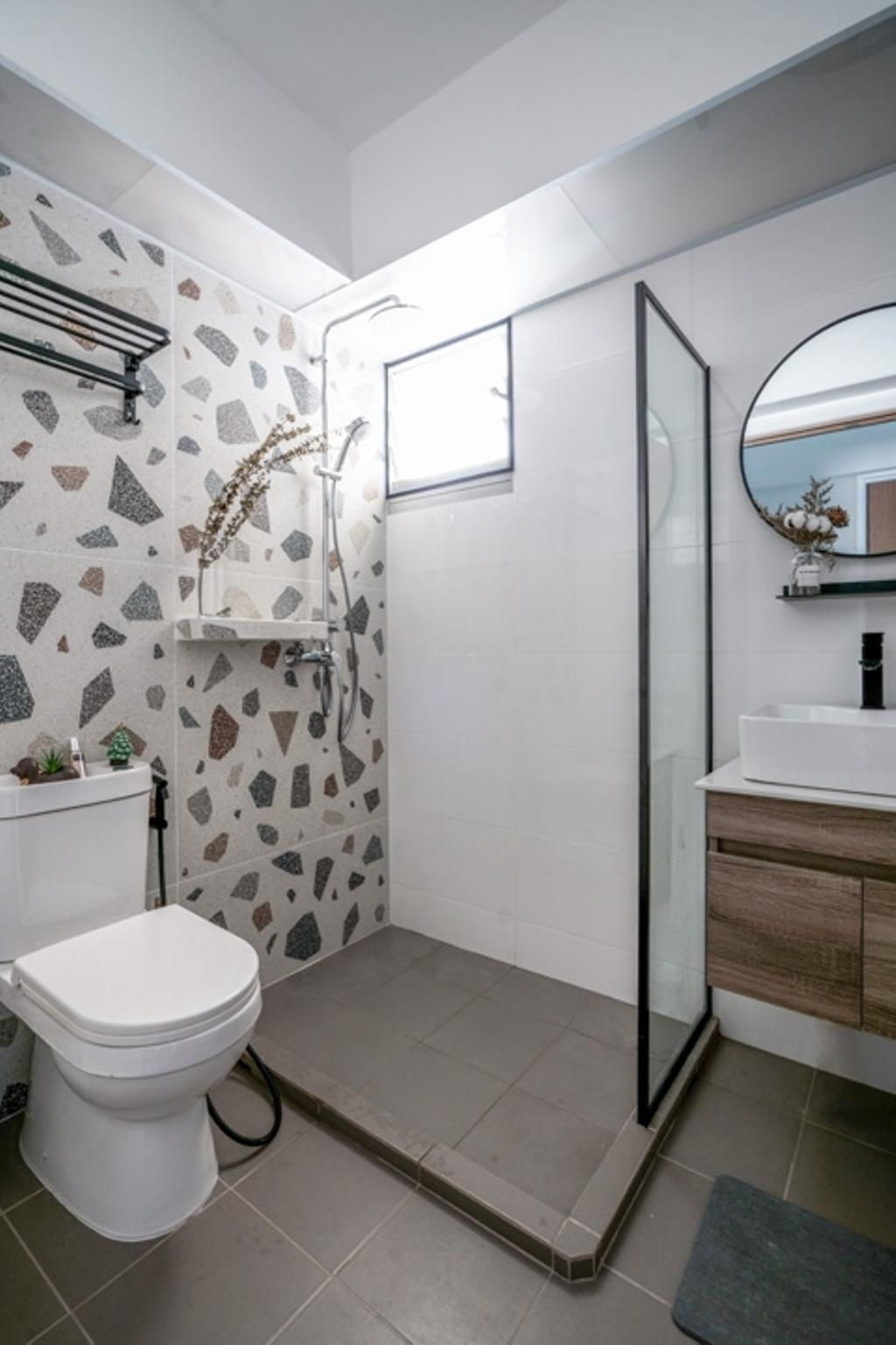 Contemporary, HDB, Bathroom, Bedok North Woods, Interior Designer, Couple Abode, Scandinavian
