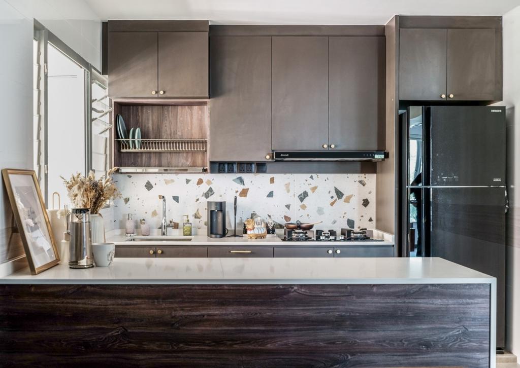 Contemporary, HDB, Kitchen, Bedok North Woods, Interior Designer, Couple Abode, Scandinavian