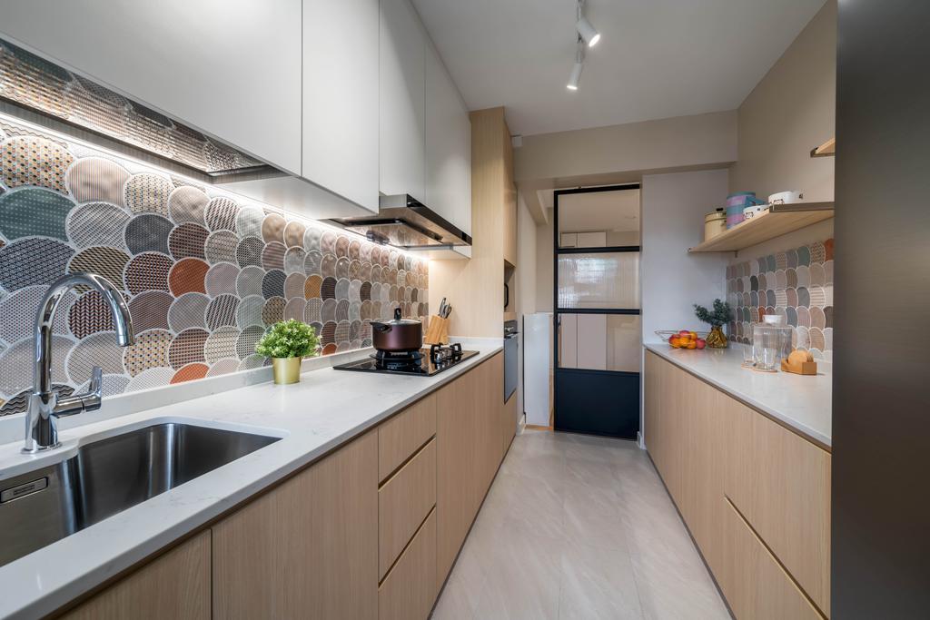 Contemporary, HDB, Kitchen, Anchorvale Street, Interior Designer, Weiken.com