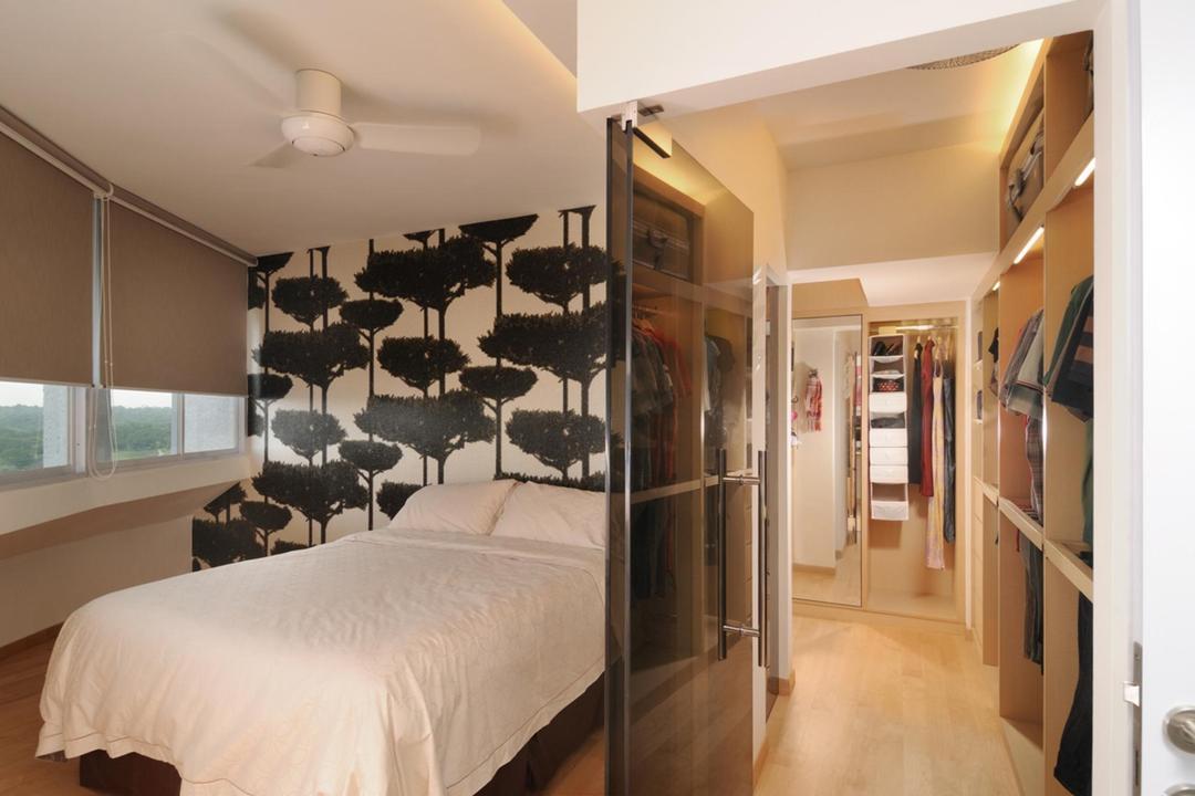 Ang Mo Kio, The Orange Cube, Transitional, Bedroom, HDB, Wallpaper, Nature, Blinds, Ceiling Fan, Walk In Wardobe, Storage, Glass Doors, Parquet, Indoors, Interior Design