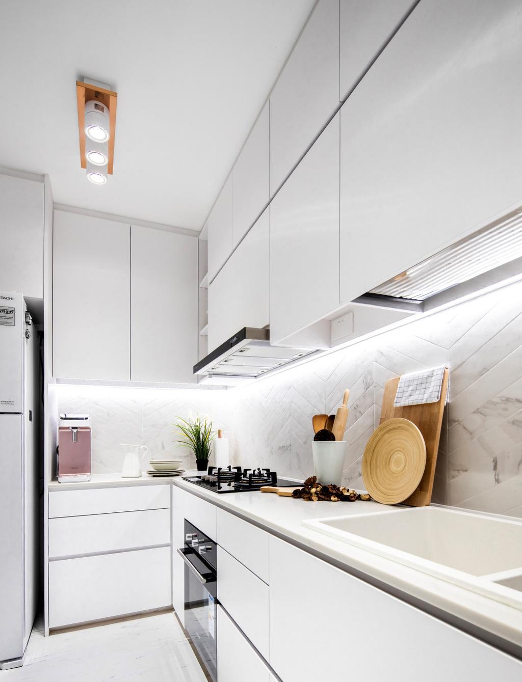 Contemporary, HDB, Kitchen, Buangkok Crescent, Interior Designer, Builders Plus, Minimalistic