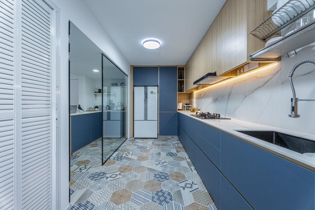 Modern, HDB, Kitchen, Simei Street 1, Interior Designer, Builders Plus, Scandinavian