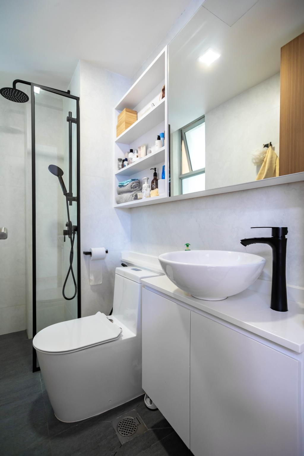 Contemporary, Condo, Bathroom, Kovan Melody, Interior Designer, Renex Interior