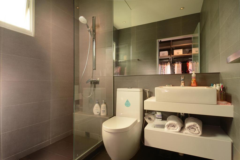 Modern, HDB, Bathroom, Punggol, Interior Designer, The Orange Cube, Mirror, Bathroom Counter, Shelf, Tile, Tiles, Glass Cubicle, Gray, Vessel Sink, Shower, Indoors, Interior Design, Room, Closet, Furniture, Wardrobe