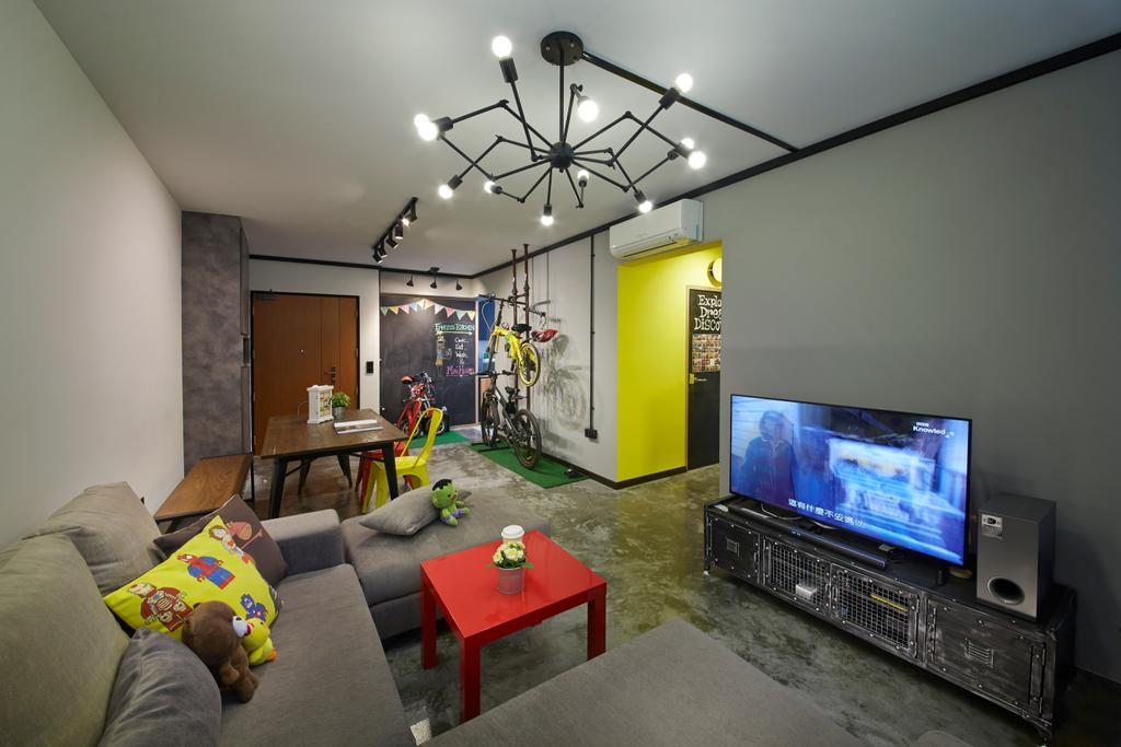 Eclectic, HDB, Living Room, Anchorvale Street, Interior Designer, Rubiks Studio