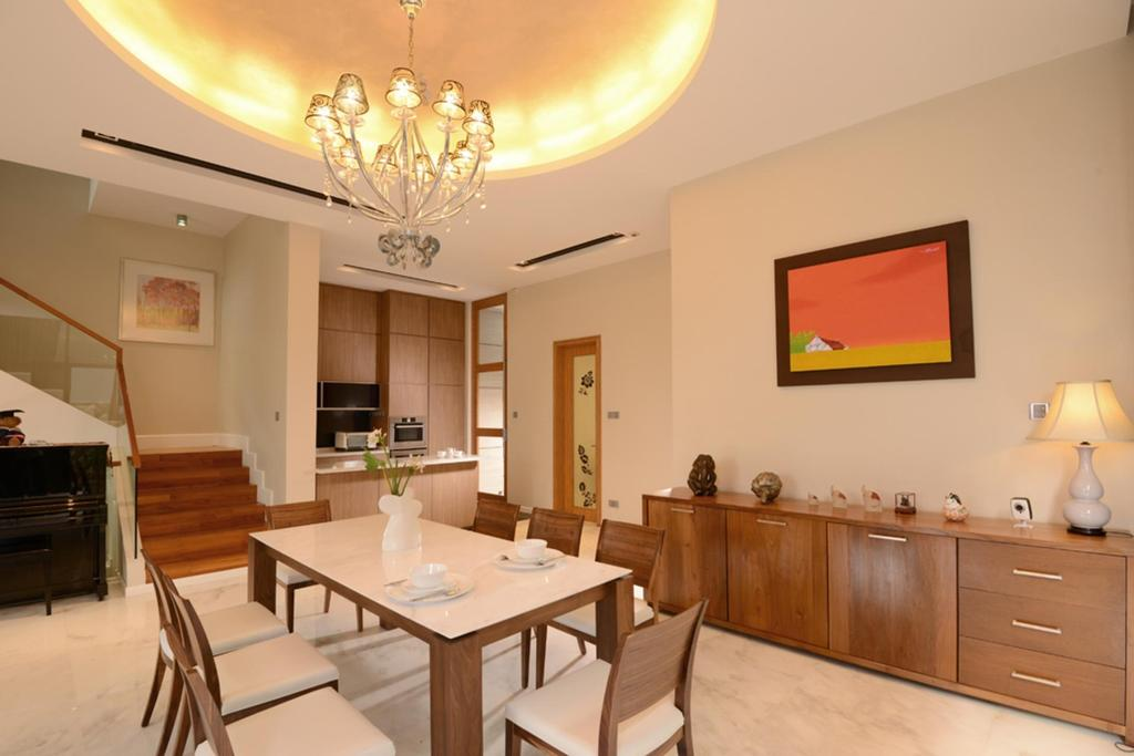 Transitional, Landed, Dining Room, Borthwick Drive, Interior Designer, The Orange Cube, False Ceiling, Chandelier, Lighting, Hanging Light, Chair, Dining Table, Table, Cabinet, Wood Laminate, Wood, Laminate, Staircase, Stairs, Glass Railing, Railing, Handrails, Lamp, Painting, Indoors, Interior Design, Room, Furniture, Light Fixture, Art
