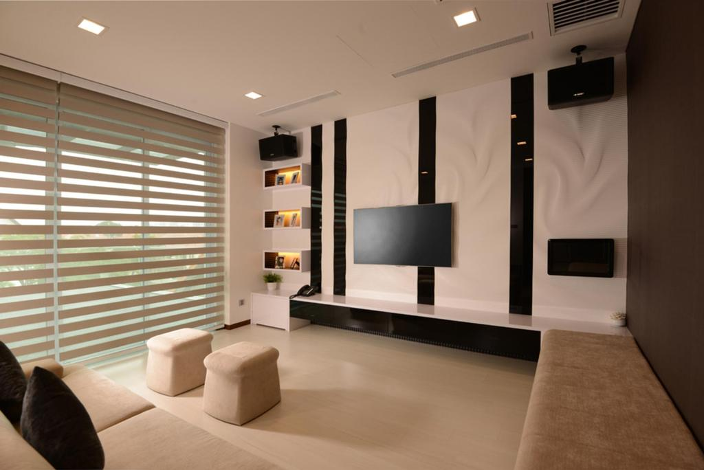 Modern, Landed, Living Room, Frankel Avenue, Interior Designer, The Orange Cube, Venetian Blinds, Stools, Chair, Bench, Feature Wall, Display Shelf, Shelf, Shelves, Tv Console, Black, White, Brown, Full Length Mirror, Indoors, Interior Design, Appliance, Electrical Device, Microwave, Oven, Furniture