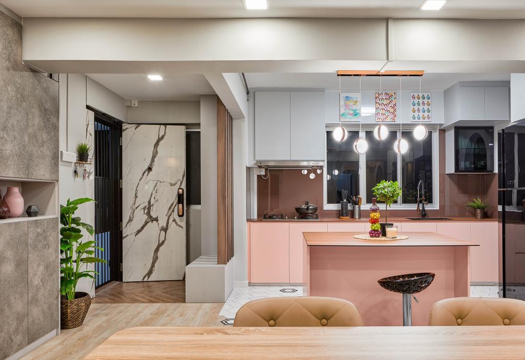 Contemporary, HDB, Kitchen, Woodlands Drive 62, Interior Designer, Absolook Interior Design