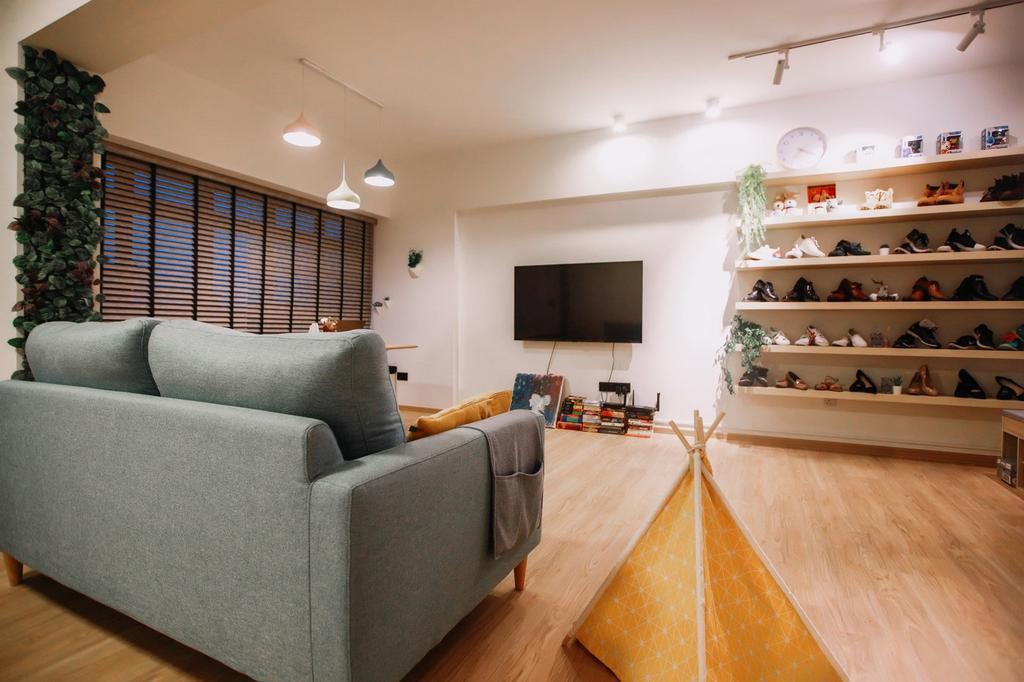 Modern, HDB, Living Room, Punggol Place, Interior Designer, The Wooden Platform, Scandinavian
