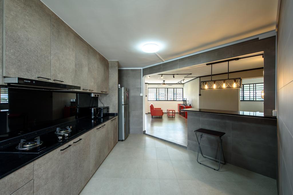 Industrial, HDB, Kitchen, Yishun Ring Road, Interior Designer, NJ Concept, Contemporary