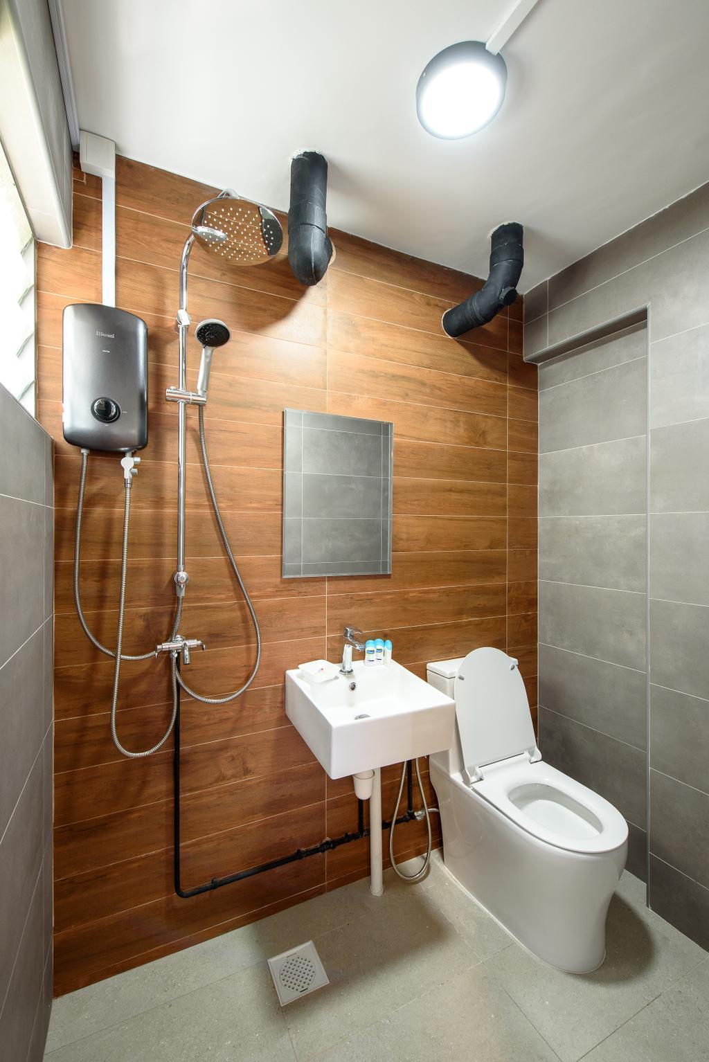 Industrial, HDB, Bathroom, Yishun Ring Road, Interior Designer, NJ Concept, Contemporary