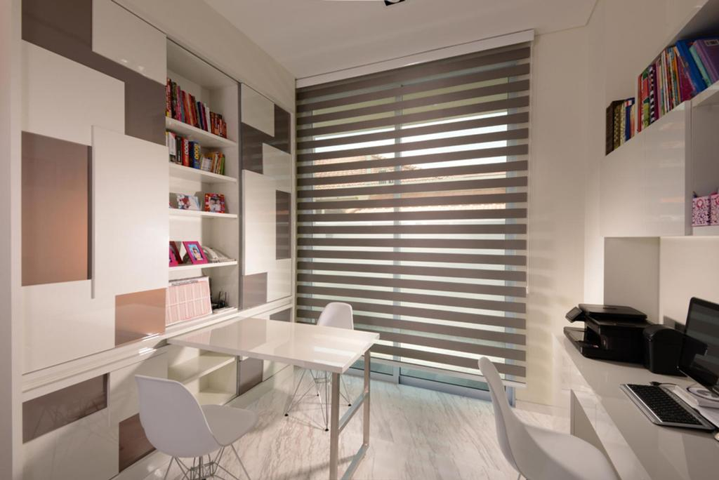 Modern, Landed, Study, Frankel Avenue, Interior Designer, The Orange Cube, Venetian Blinds, Table, Chair, Display Shelf, Shelf, Shelves, Tile, Tiles, Full Length Windows, Furniture, Dining Table, Electronics, Keyboard, Dining Room, Indoors, Interior Design, Room, Bookcase