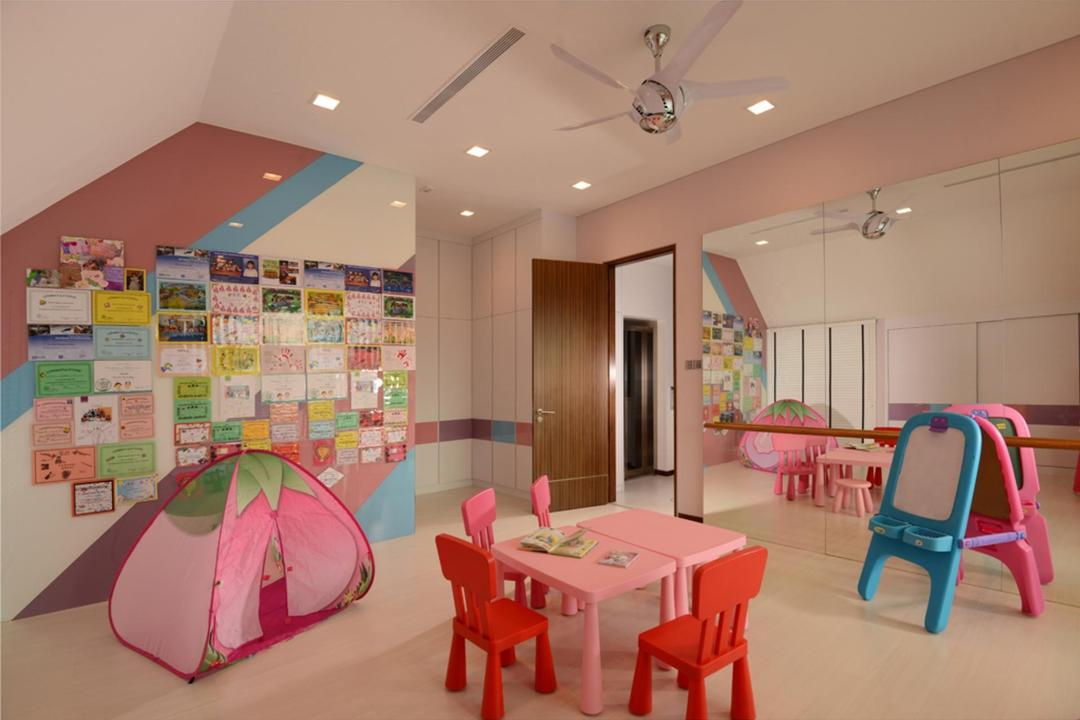 Frankel Avenue, The Orange Cube, Modern, Study, Landed, Colorful, Kids, Kids Room, Ceiling Fan, Mirror, Full Length Mirror, Stripes, Striped Wall, Pastel Tones, Pastel, Pink, Dining Table, Furniture, Table, Chair, Dining Room, Indoors, Interior Design, Room