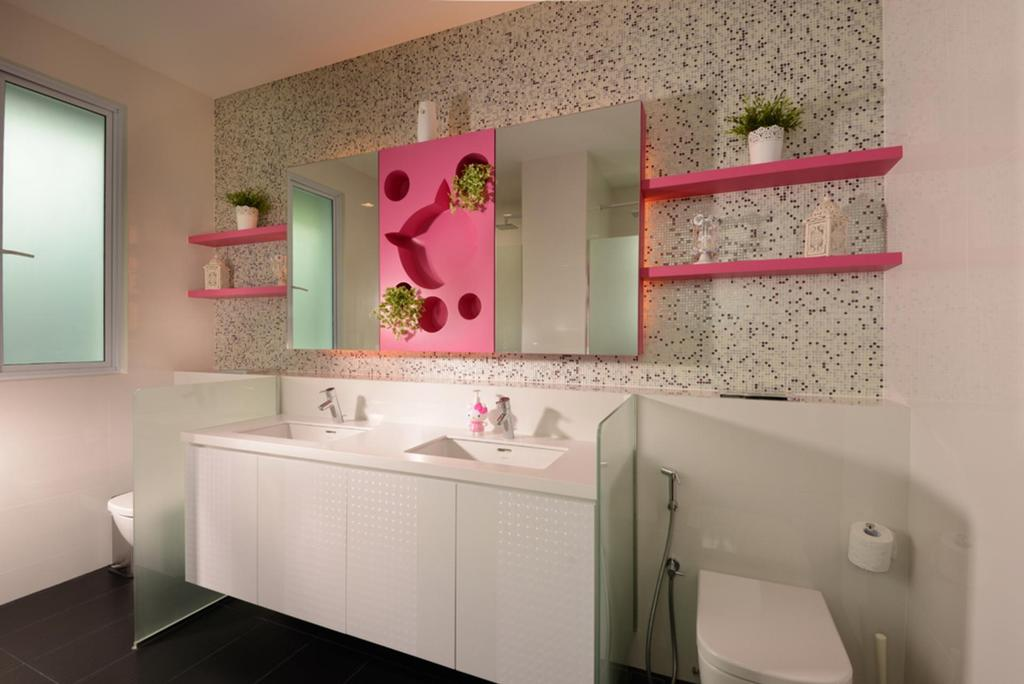 Modern, Landed, Bathroom, Frankel Avenue, Interior Designer, The Orange Cube, Pink, Bathroom Counter, Frosted Glass, Mirror, Shelf, Shelves, Displsy Shelf, Indented Wall, Mosaic Tiles, Mosaic, Indoors, Interior Design, Room, Door