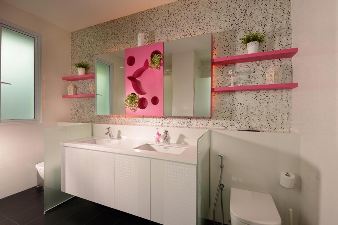 Frankel Avenue, The Orange Cube, Modern, Bathroom, Landed, Pink, Bathroom Counter, Frosted Glass, Mirror, Shelf, Shelves, Displsy Shelf, Indented Wall, Mosaic Tiles, Mosaic, Indoors, Interior Design, Room, Door