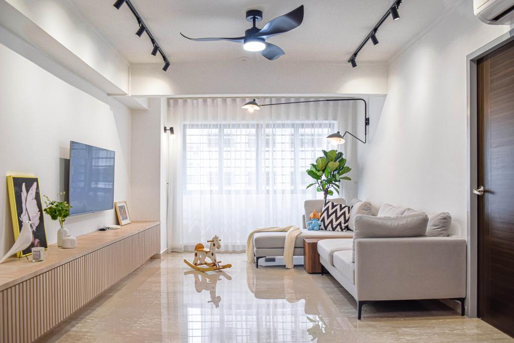 Modern, HDB, Living Room, Jalan Damai, Interior Designer, Posh Home, Contemporary