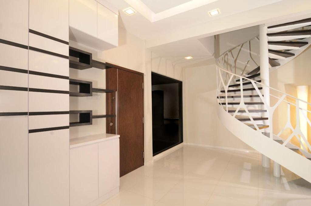 Modern, Landed, Living Room, Jalan Jermin, Interior Designer, The Orange Cube, Stairs, Spiral Staircase, Railing, Handrails, Marble Flooring, Shelf, Shelves, Display Shelf, White, Banister, Handrail, Staircase, Indoors, Interior Design