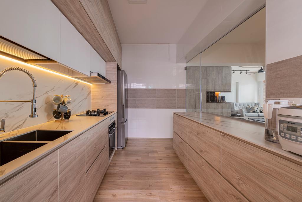 Modern, HDB, Kitchen, Woodlands Drive 16, Interior Designer, E&S, Scandinavian