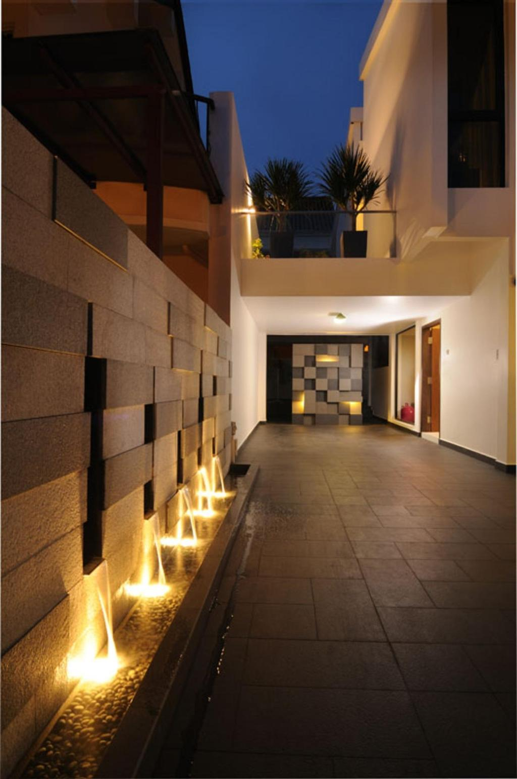 Modern, Landed, Balcony, Jalan Jermin, Interior Designer, The Orange Cube, Exterior, Outdoors, Tile, Tiles, Feature Wall, Water Feature, Fountain, Stone Wall, Pebbles, Inground Lighting, White, Corridor