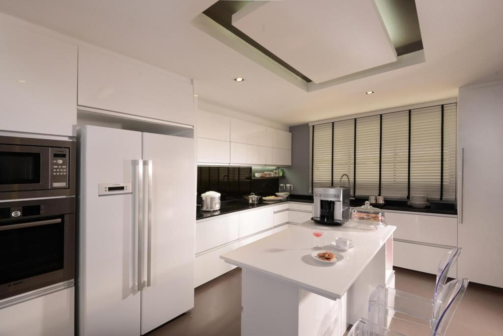 Modern, Landed, Dining Room, Kovan, Interior Designer, The Orange Cube, Venetian Blinds, Concealed Lighting, False Ceiling, Cabinet, White, Dining Table, Chair, Table, Kitchen Counter, Appliance, Electrical Device, Oven, Sink, Microwave