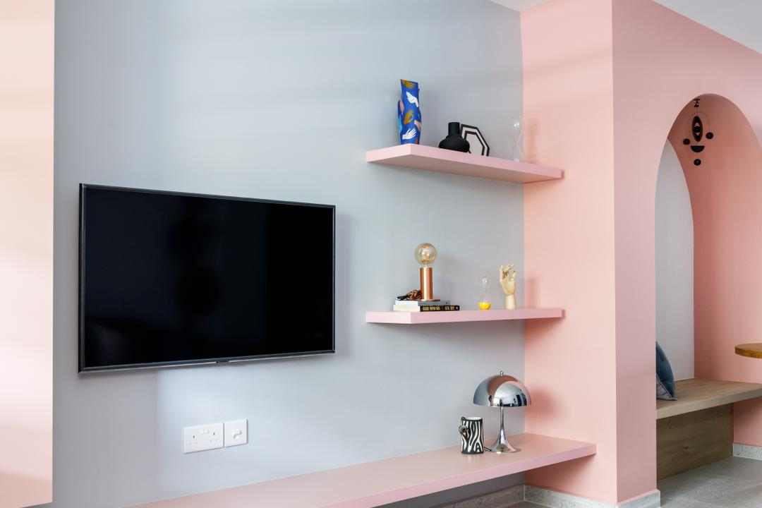 Ang Mo Kio Avenue 1, Karpentree Studio, Modern, Retro, Living Room, HDB