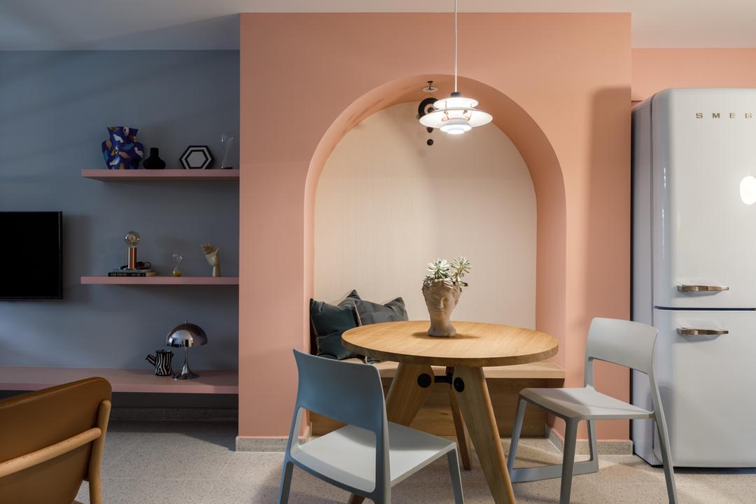 Ang Mo Kio Avenue 1, Karpentree Studio, Modern, Retro, Dining Room, HDB