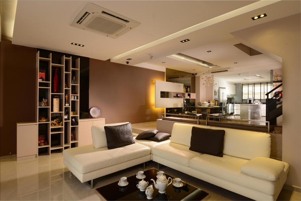 Modern, Landed, Living Room, Kovan, Interior Designer, The Orange Cube, Display Shelf, Cubbyholes, Coffee Table, Table, Chair, Sofa, Concealed Lighting, False Ceiling, Warm Tones, Feature Wall, Couch, Furniture, Indoors, Interior Design