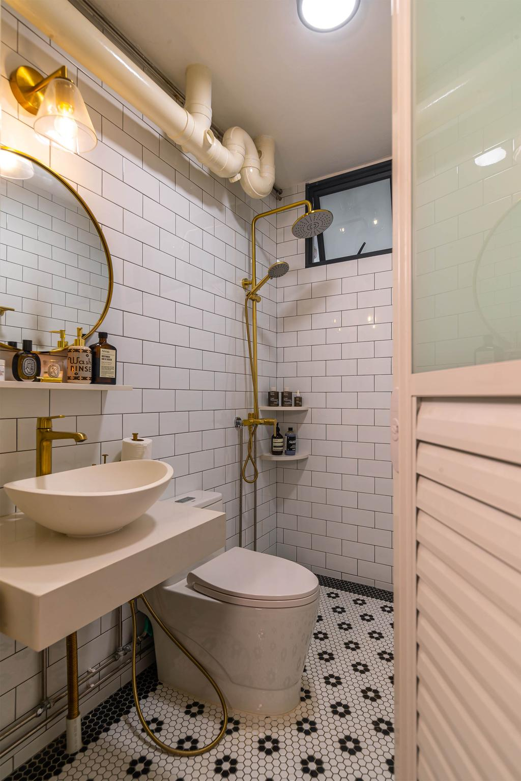 Eclectic, HDB, Bathroom, Choa Chu Kang, Interior Designer, Swiss Interior Design, Vintage