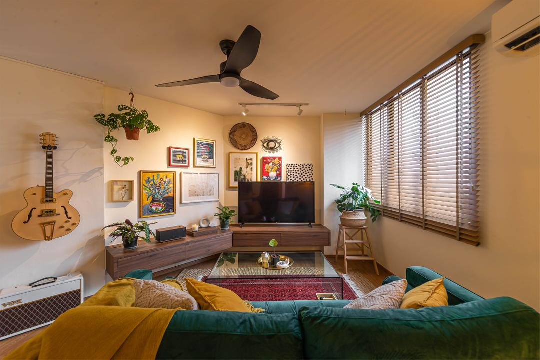 Choa Chu Kang, Swiss Interior Design, Eclectic, Vintage, Living Room, HDB