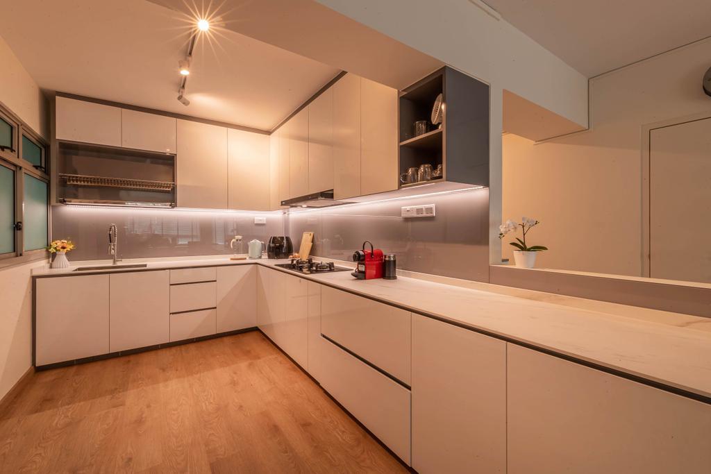 Modern, HDB, Kitchen, Compassvale Link, Interior Designer, Swiss Interior Design, Scandinavian