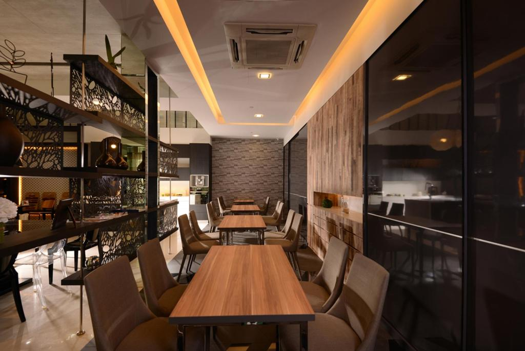 Showroom, Commercial, Interior Designer, The Orange Cube, Contemporary, Dining Room, False Ceiling, Dining Table, Table, Chair, Concealed Lighting, Display Shelf, Parquet Wall, Wood Laminate, Wood, Laminate