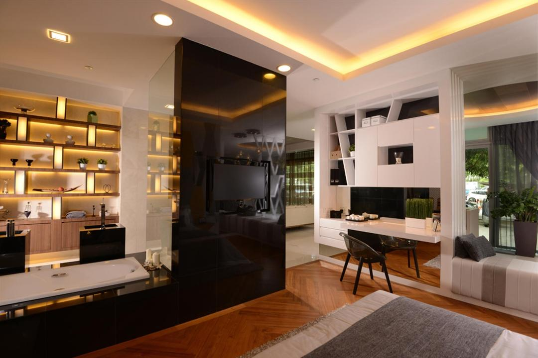 Showroom, The Orange Cube, Contemporary, Bedroom, Commercial, Bathtub, Display Shelf, Shelves, Shelf, Table, Chair, Parquet, Cocnealed Lighting, False Ceiling, Bench, Laminate, Open Concept, Indoors, Interior Design, Dining Table, Furniture, Electronics, Entertainment Center, Home Theater