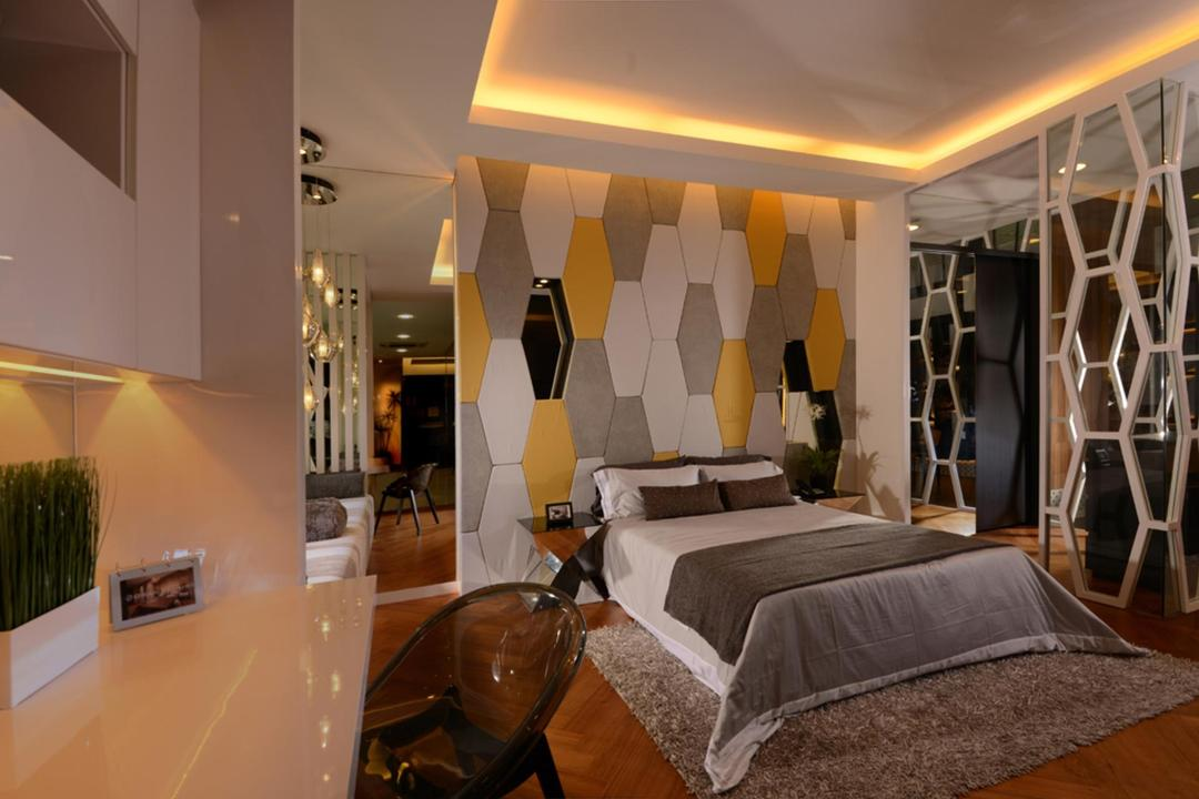Showroom, The Orange Cube, Contemporary, Bedroom, Commercial, Concealed Lighting, False Ceiling, Feature Wall, Rug, Table, Chair, Mirror, Full Length Mirror, Indeneted Wall, Recessed Wall, Partition, Indoors, Interior Design, Molding