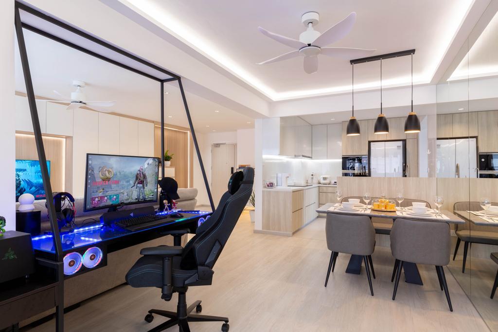 Modern, HDB, Study, Woodlands Drive 40, Interior Designer, Mr Designer Studio, Scandinavian