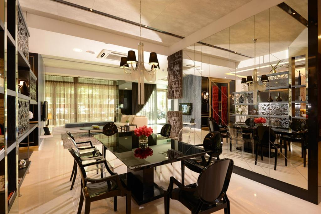 Showroom, Commercial, Interior Designer, The Orange Cube, Contemporary, Dining Room, Mirror, Full Length Mirror, Dining Table, Chair, Lighting, Hanging Light, Curtains, Stacco Wall, Rock Wall, White, Furniture, Table