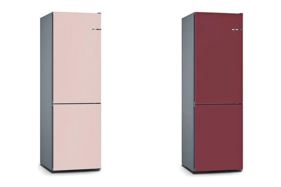 Vario Style Bottom Freezer Fridge in Light Rose and Raspberry from Bosch