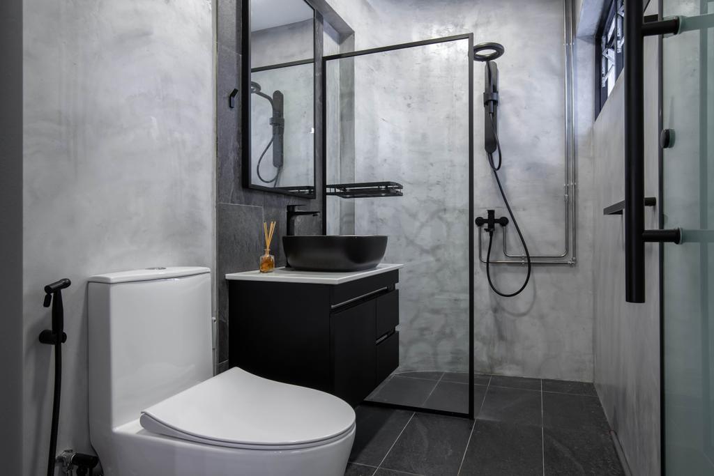 Modern, HDB, Bathroom, Lorong Ah Soo, Interior Designer, Inizio Atelier, Contemporary
