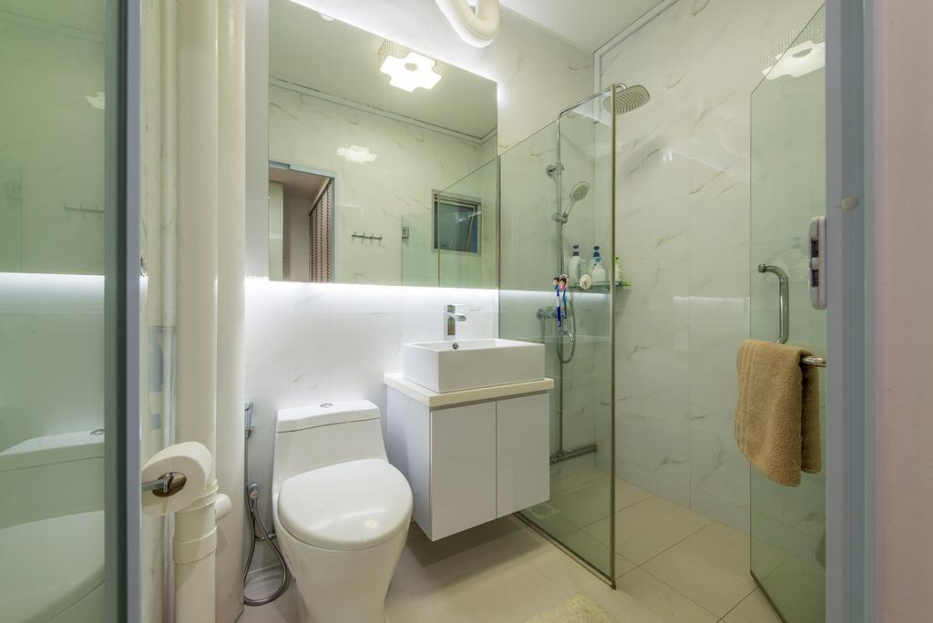 Modern, HDB, Bathroom, Tampines Street 22, Interior Designer, DM+