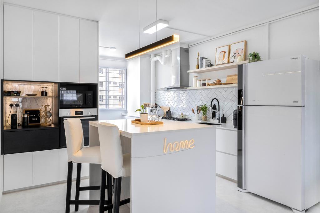 Minimalistic, HDB, Kitchen, Simei Street 1, Interior Designer, Starry Homestead